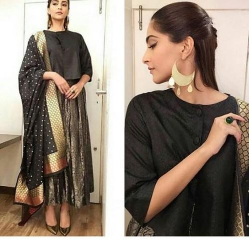 Want this sonam kapoor's black short cape and ankle length anarkali suit Look please <3 <3 - SeenIt
