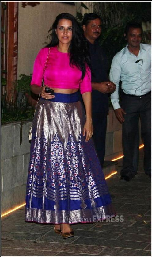 Benarasi legenga with a fuschia blouse..absolutely love this colour combo worn by neha dhupia, please find for me - SeenIt