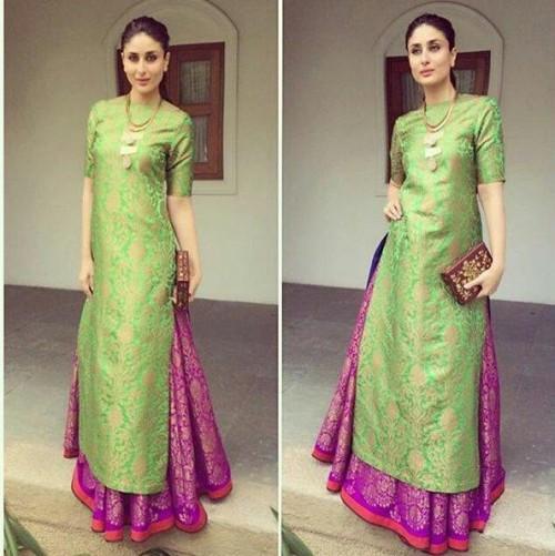 Please help me find a similar banarasi silk green and purple lehenga salwar that kareena kapoor wore! TIA :) - SeenIt