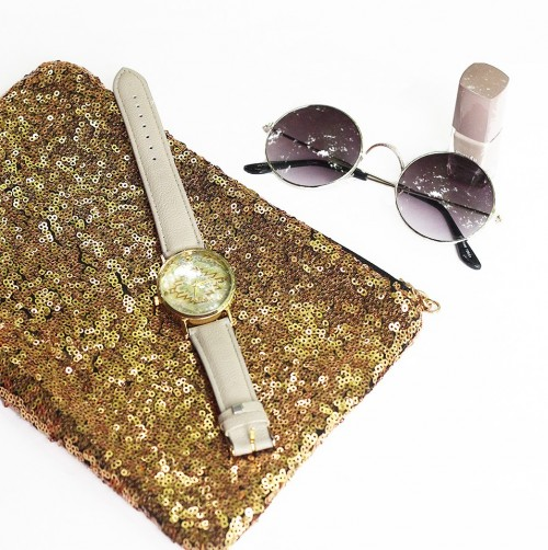 i want this golden full sequined  clutch and watch plzz - SeenIt