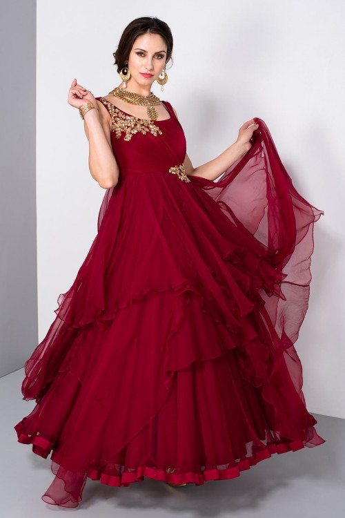 Help me find this layered maroon ruffled beautiful gown !! - SeenIt
