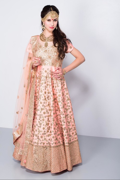 Help me find this peach full embroidered anarkali. - SeenIt