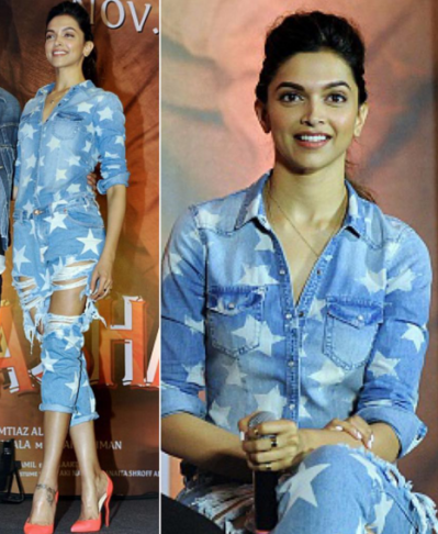 want this star printed denim clad deepika's  calf length jumpsuit - SeenIt
