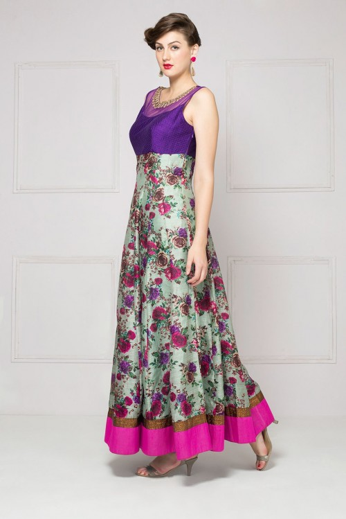Want this floral silk anarkali for a family function urgently!! - SeenIt