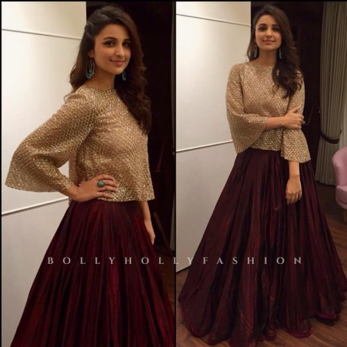 Want the sequinned top and burgundy maxi skirt which Parineeti Chopra is wearing - SeenIt