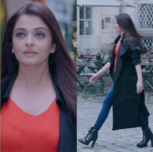 Perfect outfit for winter. the black over coat with denims like Aishwarya wore - SeenIt