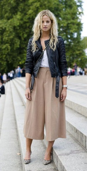 Culottes and leather jacket... new trend alert? - SeenIt