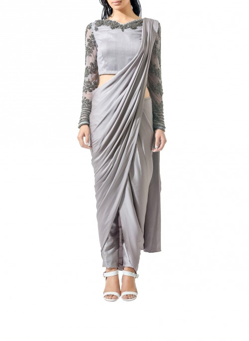 So in love with this grey drape dhoti saree!! Want the in different colours ! - SeenIt