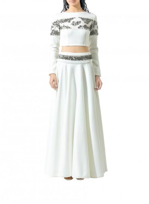 Want something similar to this embellished white lehenga and crop top - SeenIt
