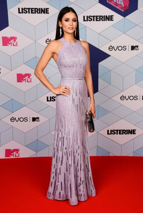 Nina Dobrev in Elie Saab gown at the EMA Awards. - SeenIt
