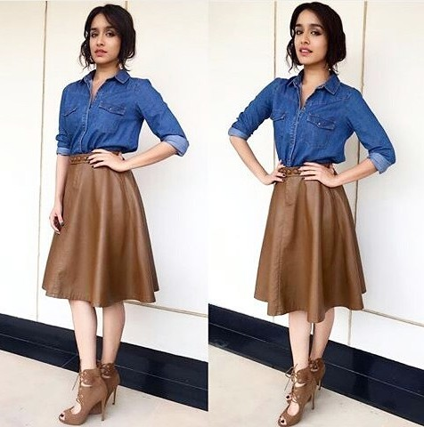 Shraddha Kapoor killing it in blue denim shirt, brown leather midi skirt and lace up heels during Rock On 2 promotion! Help me find the entire outfit..:) - SeenIt