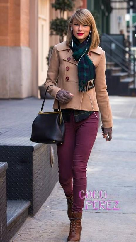 i want something similar to taylor swift's short beige double breasted coat with a muffler and wine colored skinny denims - SeenIt