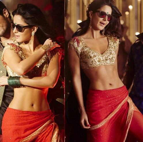 Katrina's hot look from the movie Baar Baar Dekho.. Want the entire outfit...red dhoti pants, nude embellished blouse and the sunglasses. - SeenIt