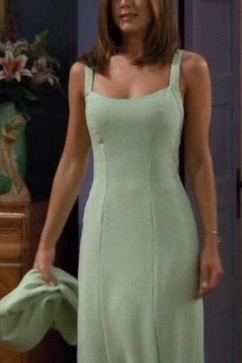 want  a similar soft green scrappy straight fit slitted dress worn by rachel green in friends - SeenIt