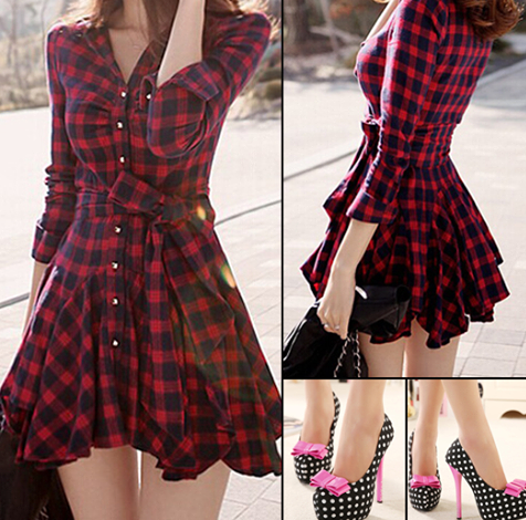 want a similar red and black classic plaid shirt style ruffled dress - SeenIt