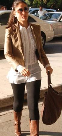 loved kareena kapoor's tan brown short jacket with really narrow lapels for this season! - SeenIt