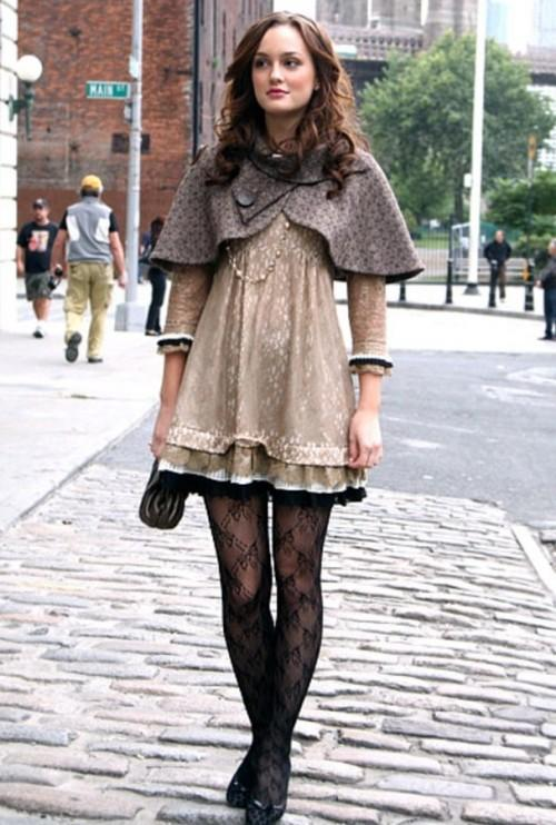 something similar to blair waldorf's lacy dress and stockings with a capelet - SeenIt