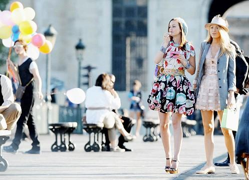 something similar to these flared dresses and denim jacket worn by blake lively and leighton meester on gossipgirl - SeenIt