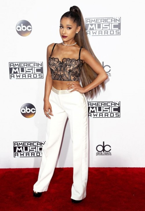 Ariana Grande in a lingerie top and Alexander McQueen pants at the American Music Awards 2016. - SeenIt