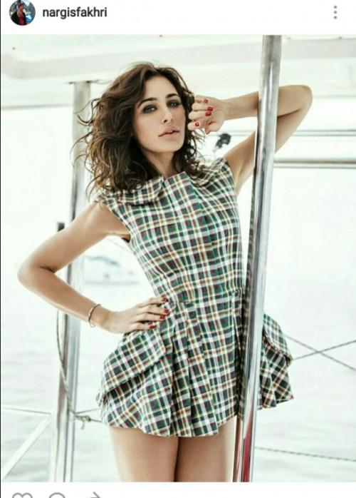 love nargis fakhris gingham print short dress - SeenIt