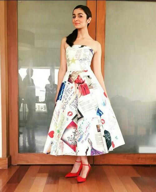 697d21e088 something similar to this magazine print flared calf length dress worn by  alia - SeenIt