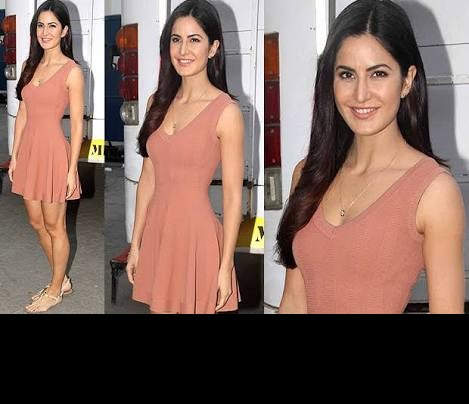 want katrina kaifs rust colored simple skater dress - SeenIt