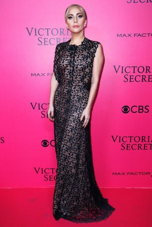In Alaïa lace dress,Lady Gags's look was quite interesting at the Victoria's Secret After Party - SeenIt