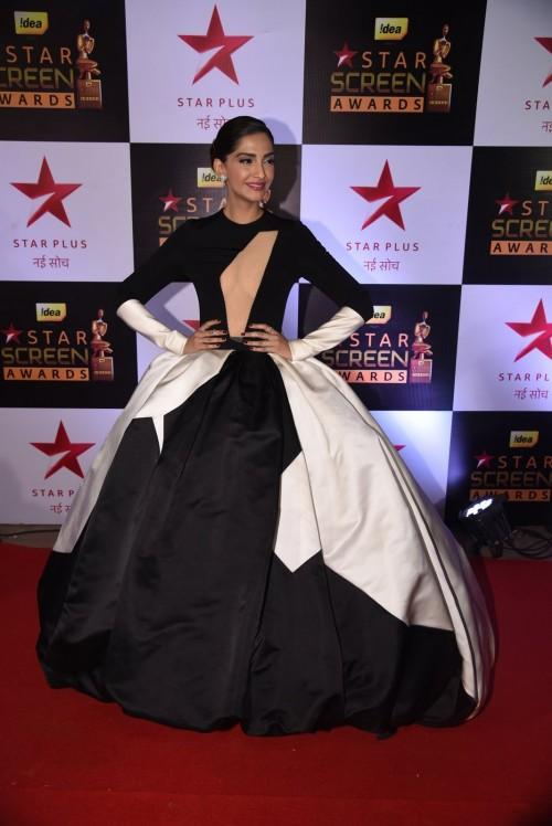 Sonam Kapoor attended the Star Screen Awards 2016 in a monochrome Stephane Rolland gown. - SeenIt