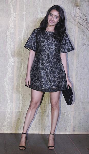 Shraddha looked cute in this lace mini dress designed by Ankita at Manish's B'day Bash. - SeenIt