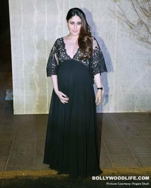 Kareena looked pretty in a black maxi dress at Manish's B'day Bash. - SeenIt