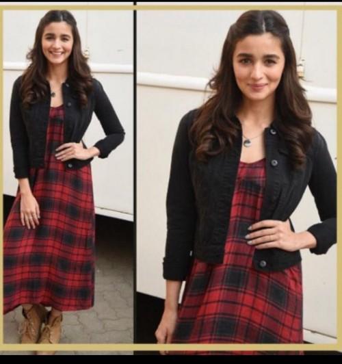I really want Alia Bhatt's short denim jacket with a plaid printed a line midi dress - SeenIt