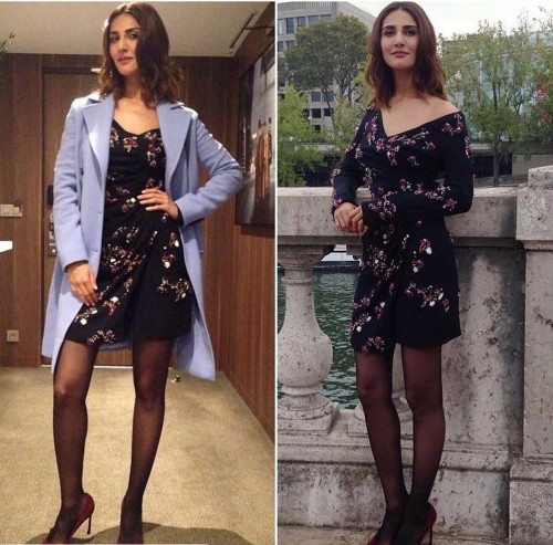 looking for Vaani Kapoor's floral wrap around dress with princess coat and sheer stockings from befikre - SeenIt