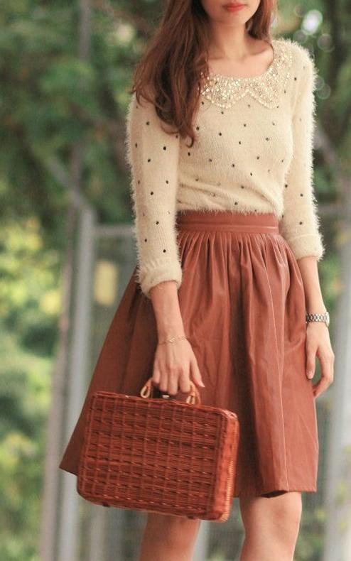 looking for this polka dot formal neckline pullover with a pleated high waisted knee length skirt - SeenIt