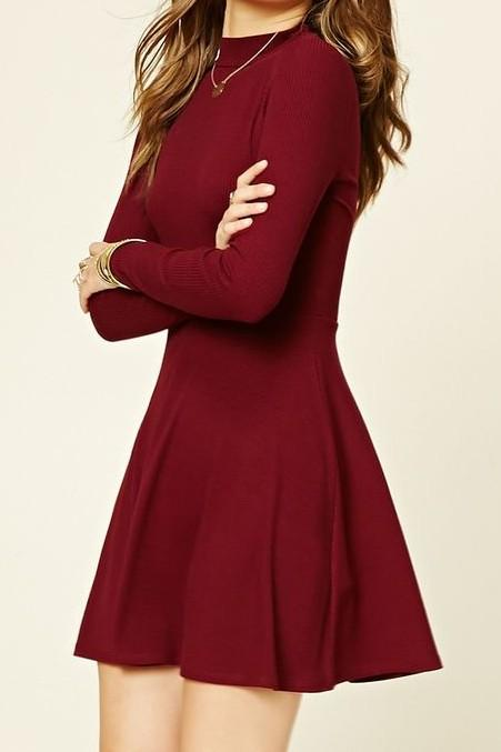 i want a short casual full sleeved skater dress in a solid color. Help me find one - SeenIt