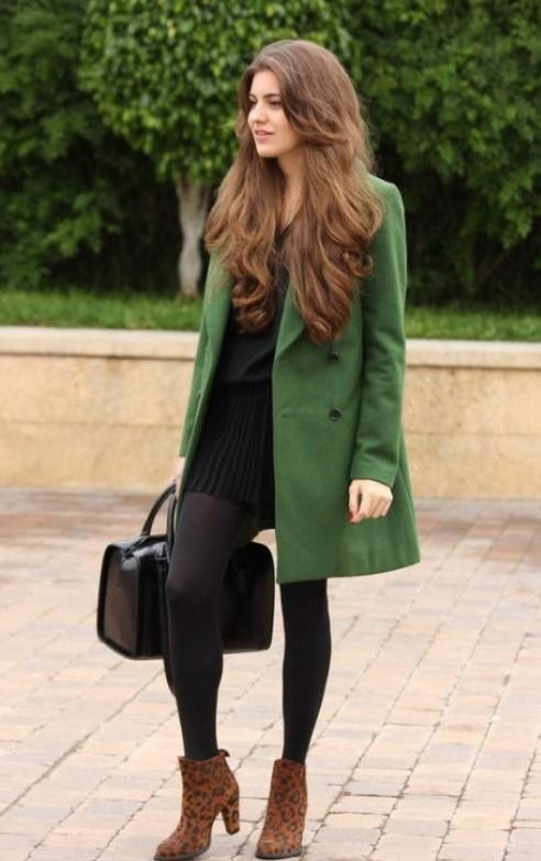 Everything about this outfit the classic lbd with a pair of sheer stockings, paired with a long double breasted overcoat and animal print ankle length boots - SeenIt