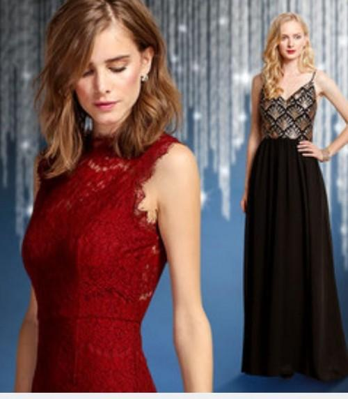 red lacy short dress or sequined spegati strap a-line maxi dress ideal for christmas - SeenIt