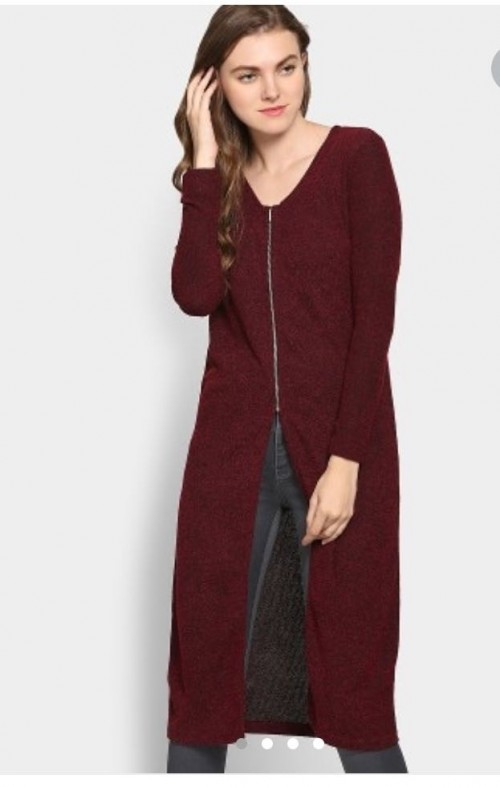 Please suggest indian sites for a front open maroon long top - SeenIt