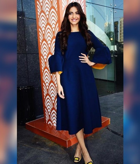sonam kapoors blue dress with bell sleeves - SeenIt