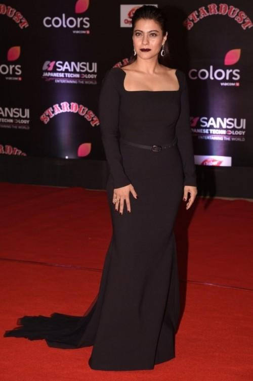 Kajol in Gauri and Nainika black gown at the Stardust Awards 2016. - SeenIt