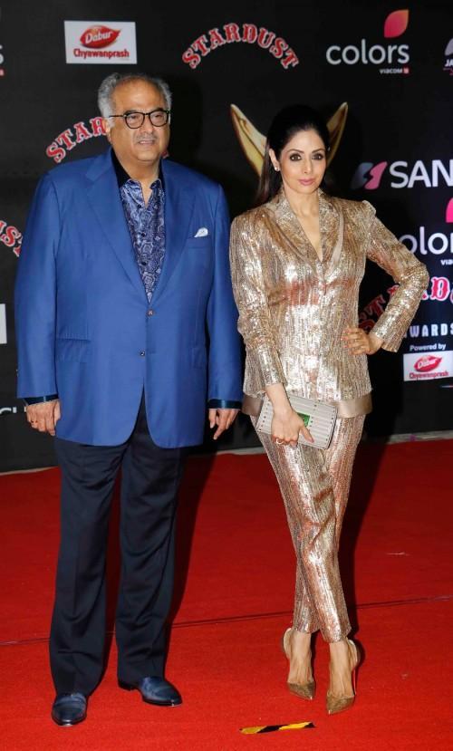 Sridevi in Manish Malhotra golden sequin pantsuit at the Stardust Awards 2016. - SeenIt