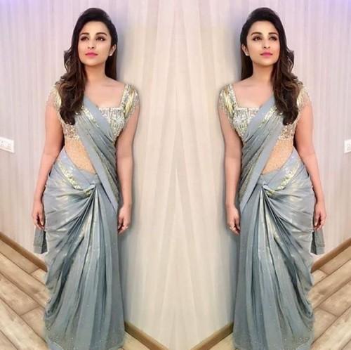 Parineeti stunned in a grey saree at the Stardust Awards 2016. - SeenIt