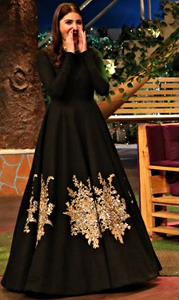 Find the black embroidered anarkali gown of Anushka's for Ae dil hai mushkil promotions.. - SeenIt