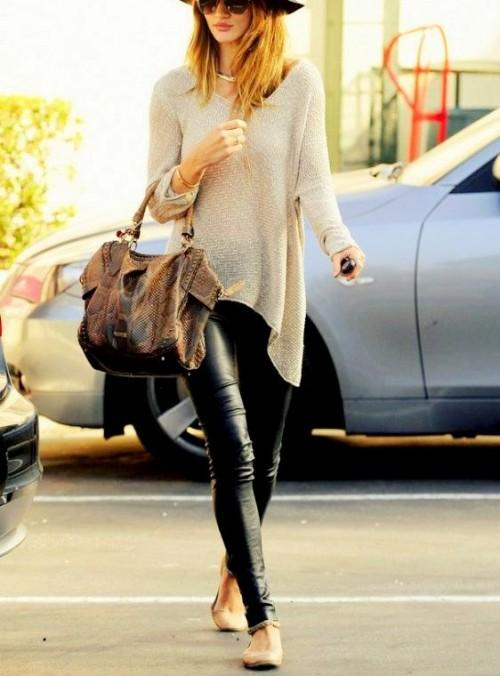 Please put together this look for me from a domestic site! the leather black skinny pants with a crosia beige long asymmetric sweater - SeenIt