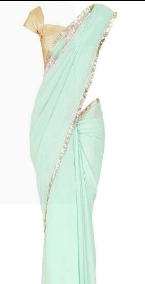 need a similar aqua blue with golden blouse saree - SeenIt