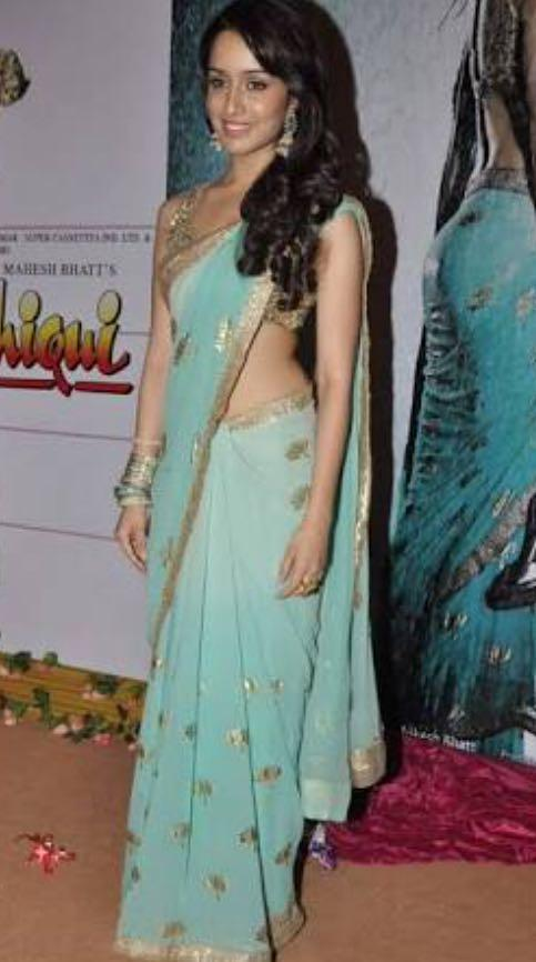 want blue and gold saree worn by shradha kapoor - SeenIt