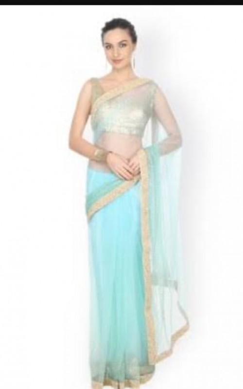 want a similar sky blue net saree with golden border - SeenIt