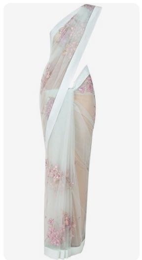 want this floral embroidered net saree in blue colour - SeenIt