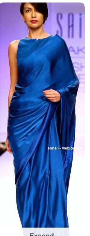 Want this silk satin saree in light blue - SeenIt