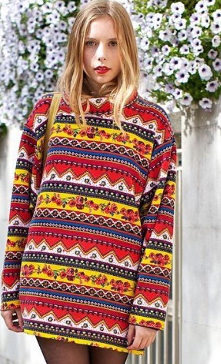want a similar geometric print multi colored sweater - SeenIt