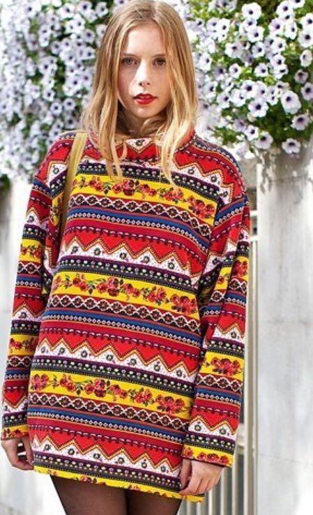 want a similar geometric print multi colored sweater - SeenIt